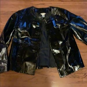 Patent real all leather black Laura Ashley jacket